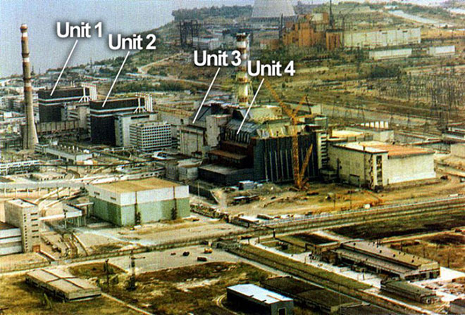 Chernobyl reactors 1, 2, 3 and 4